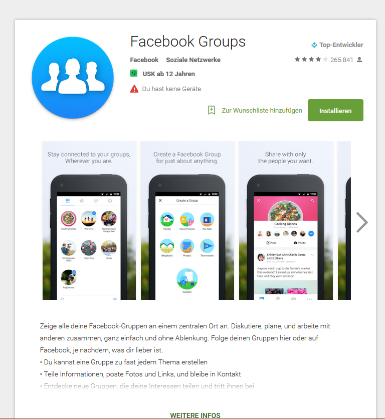 Facebook App Google Play (Android)